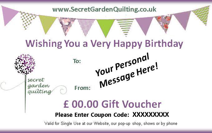 birthday gift voucher 40 from secret garden quilting